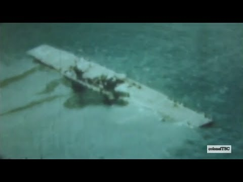 Aircraft carrier USS Saratoga (CV-3) sinks after two nuclear weapons test