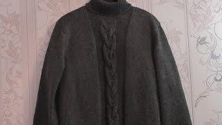 Мужской свитер вязаный спицами. Видео урок.