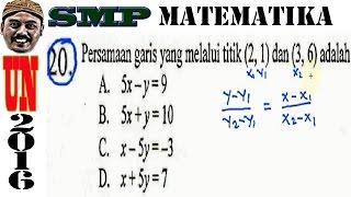 Un Smp 2016 Matematika ,  Persamaan Garis Lurus Dari Dua Titik, No 20