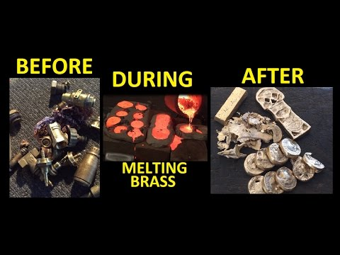 Casting brass in Clay ( jumping ingots) Melting Brass 1080p pour January 2017