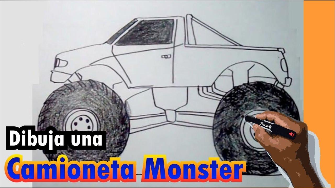 Aprende a dibujar una camioneta Monster paso a paso - YouTube