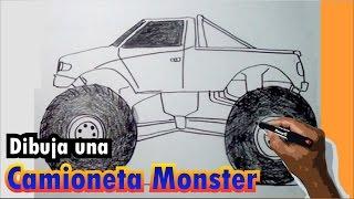 Aprende a dibujar una camioneta Monster paso a paso