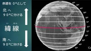 緯度と経度についてパワーポイントで説明しています.