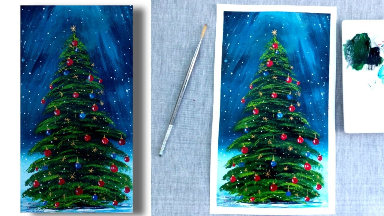 Christmas Tree Painting - Fan Brush Painting - Acrylics ...