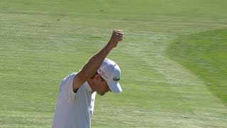Lucas Glover's bunker hole for eagle at Farmers
