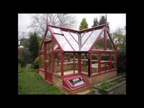Bespoke timber greenhouse - this one's red & white