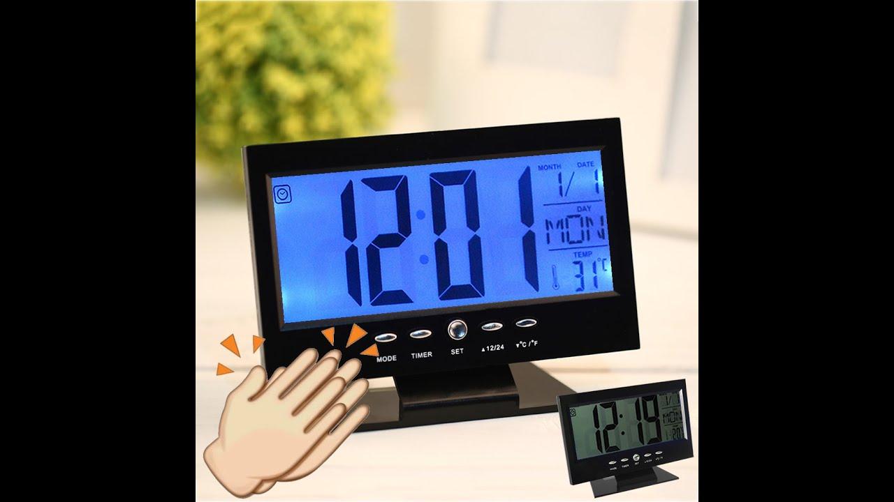 7aab69664c76 Relógio de Mesa Digital LCD LED Acionamento Sonoro Despertador Termometro  Preto ou Prata