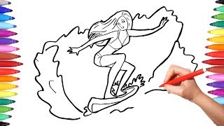 How to Draw Sports Surfer Girl Coloring Pages for Kids | How to Draw for Children