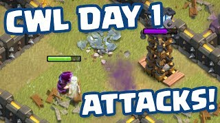 Clash of Clans • Clan War League • Day 1 Attacks!