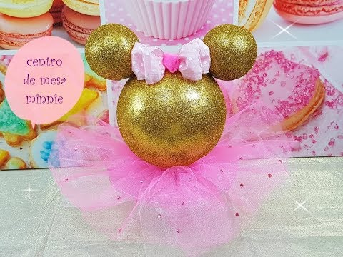 centro de mesa minnie (gold pink) centerpiece minnie