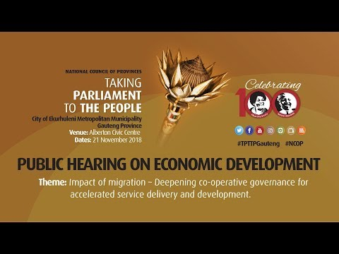 NCOP TPTTP GAUTENG 2018: PUBLIC HEARING ON ECONOMIC DEVELOPMENT, 21 NOVEMBER 2018