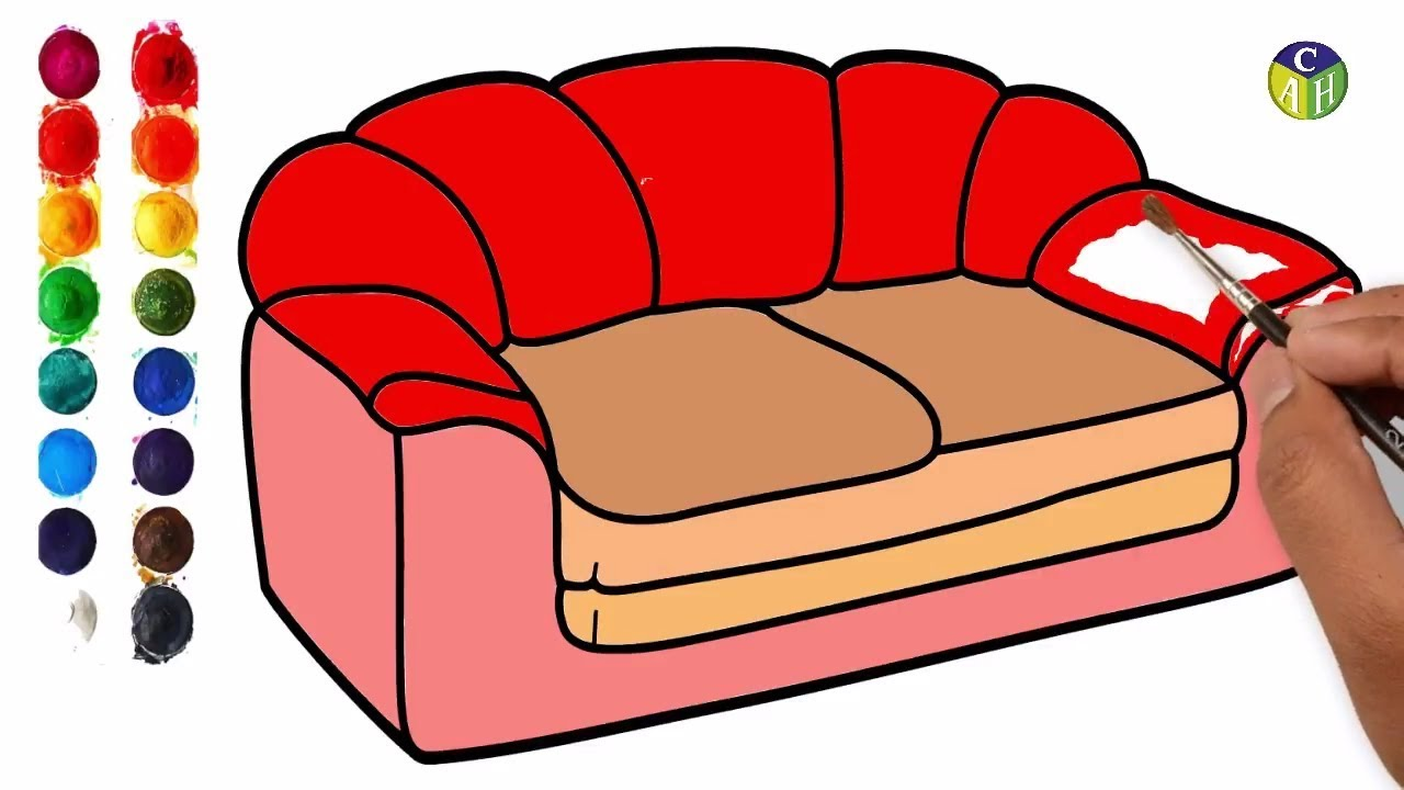 How To Draw Furniture Draw Sofa Set Color Pages Color Painting Draw Big Sofachair Drawing