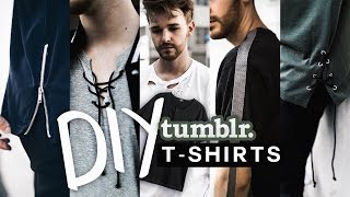 DIY 5 Tumblr T-Shirts 👕 Tranform your old shirts! (NO SEW + SUPER EASY) - Imdrewscott