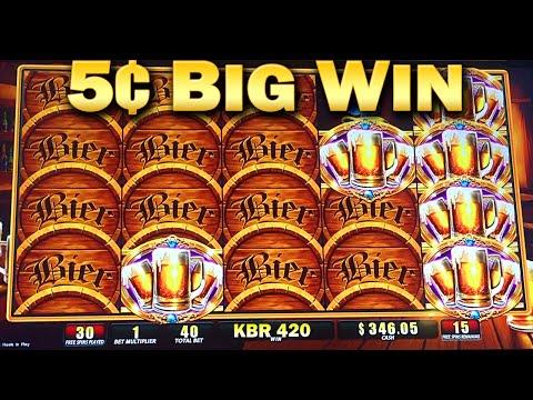 Bier Haus 200 5¢ Slot Machine Bonus 45 Free Games Big WIn Nickels Slots