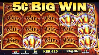 Bier Haus 200 5¢ Slot Machine Bonus 45 Free Games Big WIn Nickels Slots