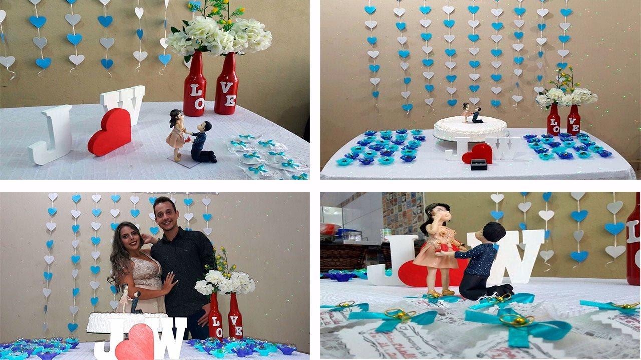 Como fazer decoraç u00e3o de noivado SIMPLES! u2665 Por Jeovana Mariane YouTube -> Decoração De Noivado