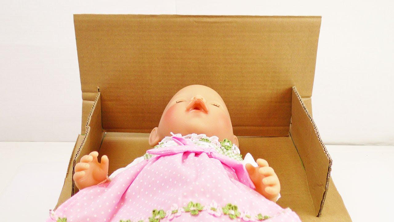 Puppenbett für Baby Born basteln | Einfaches Kinderbett aus Pappe ...