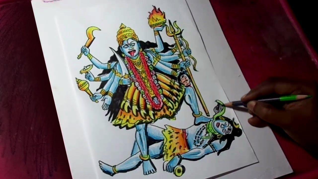How To Draw Goddess Mahakali Drawing