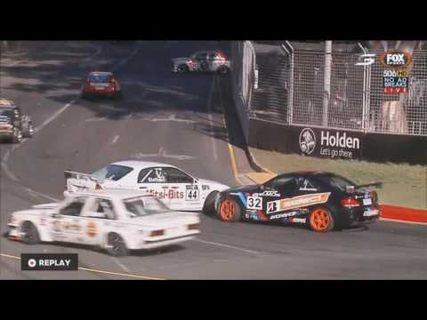 Improved Production Car Championship 2017. Race 2 Adelaide Street Circuit. 1st Lap Crashes