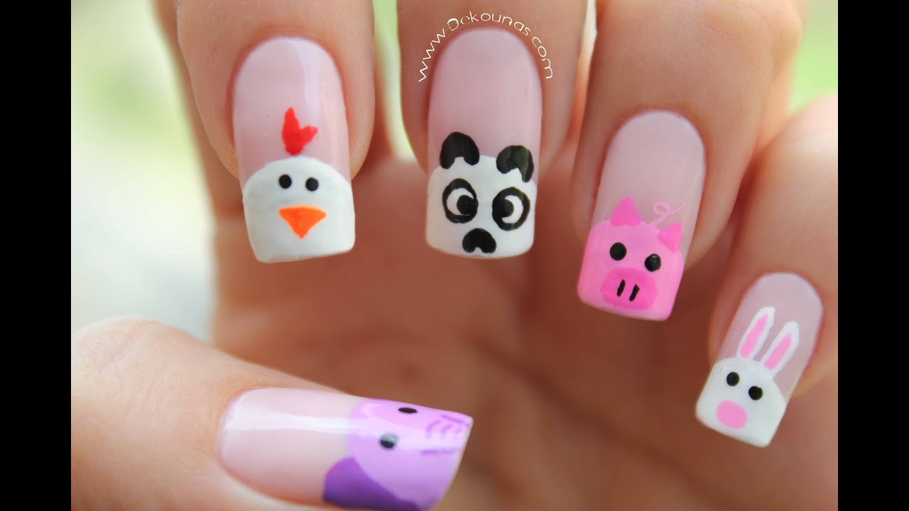 Decoración De Uñas Animalitos Animals Nail Art Youtube