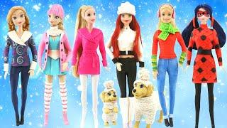 Play Doh Disney Princess Ariel, Rapunzel, Elsa, Anna I Barbie & Ladybug I Winter Outfits