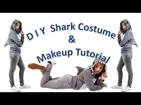 D I Y  Shark Costume & Makeup Tutorial | Halloween