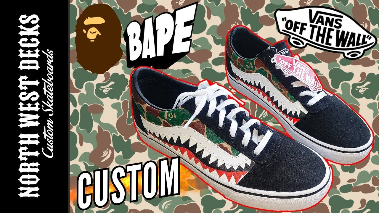 49d7061ae2 Custom Bape Shark x Vans Shoes! - YouTube