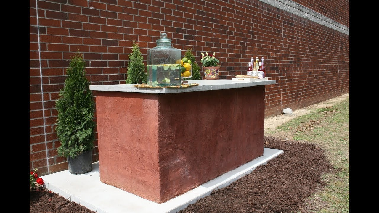 How To Build An Outdoor Bar With Concrete Block Youtube