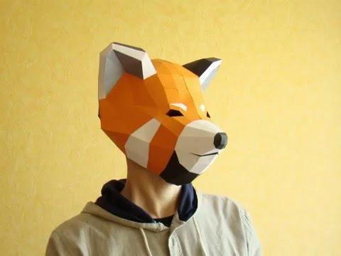 Red Panda Papercraft Mask Template