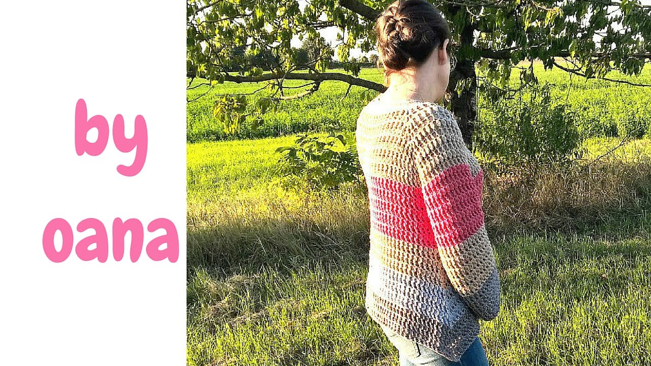 76f026c6d crochet top down pullover - YouTube