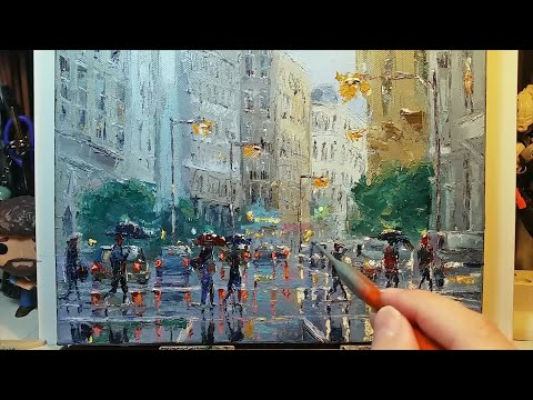 Rainy City - How to Paint with a Palette Knife | Brush - Oil Painting - Dusan - Part 3