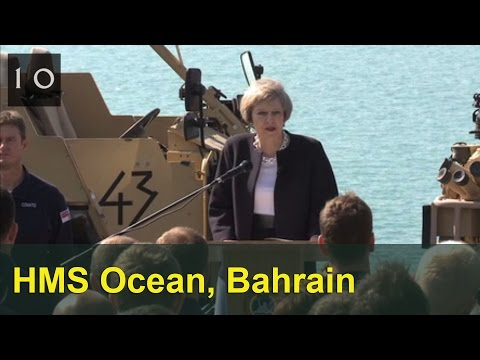 PM speaking to Royal Navy crew on HMS Ocean in Bahrain