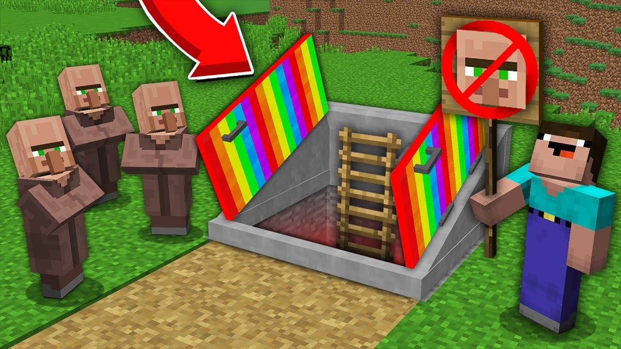Minecraft NOOB vs PRO: WHY NOOB DONT LET THIS VILLAGERS IN SECRET RAINBOW BASEMENT? 100% trolling