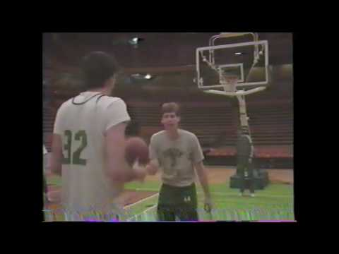 Kevin McHale & Danny Ainge horse around at practice