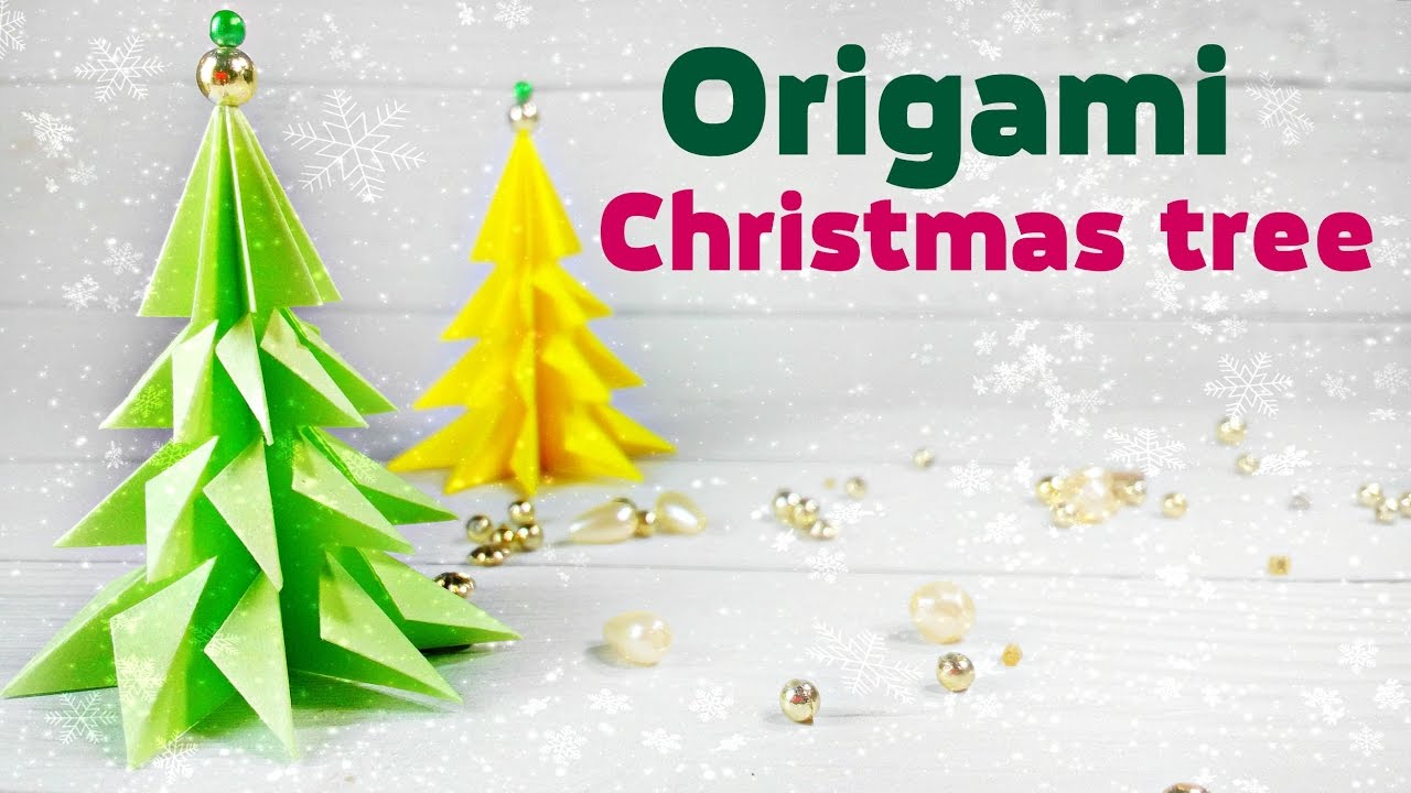 Origami Christmas Tree 3d Made Of Paper Easy Tutorial For Kids Fir Instructions