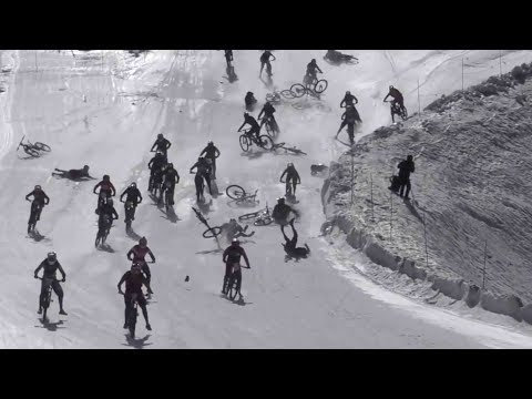 Mountain Of Hell Sees Hundreds Of Bikers Crash Down Icy Cliff