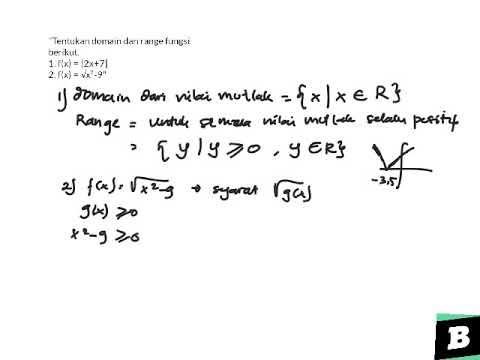 tentukan-domain-dan-range-fungsi-berikut.-1.-f(x)-=- 2x+7 -2.-f(x)-=-√x²-9