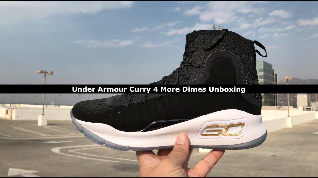 hot sale online c2fe2 8f2fc Under Armour Curry 4 More Dimes Unboxing