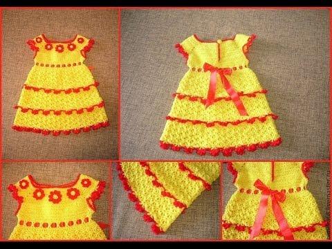 Смотреть Детские платья. Вязание крючком.