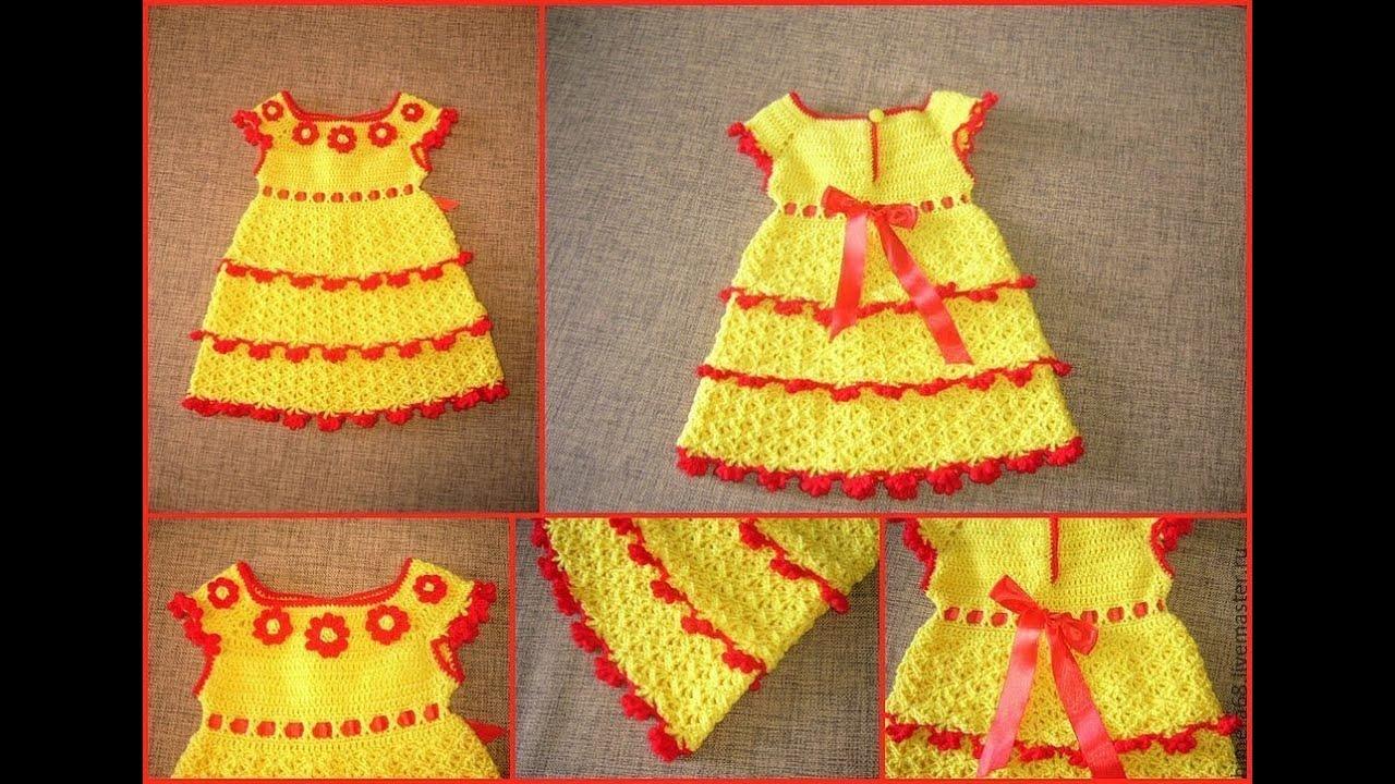 Вязаные детские платья в ютубе