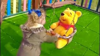 Having Fun with WINNIE THE POOH at PLAYGROUNG - Playing in the Park on LONG SLIDE