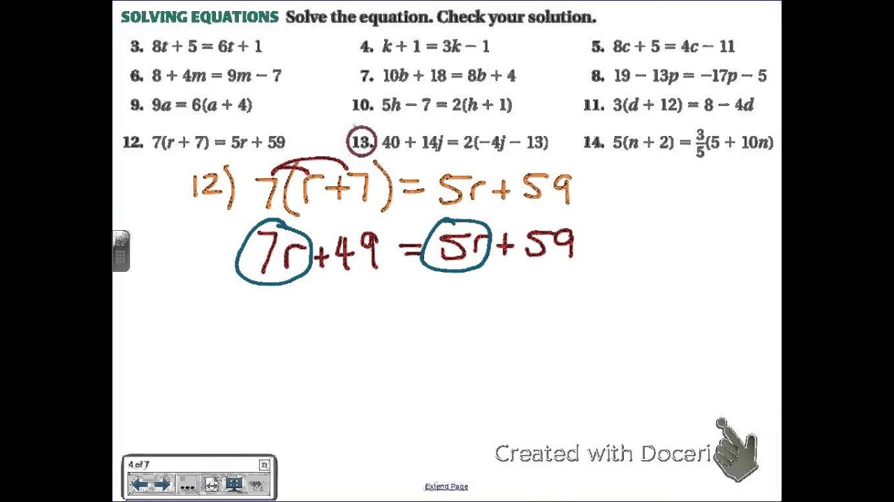 Common Core Math Solving Multi Step Equations With