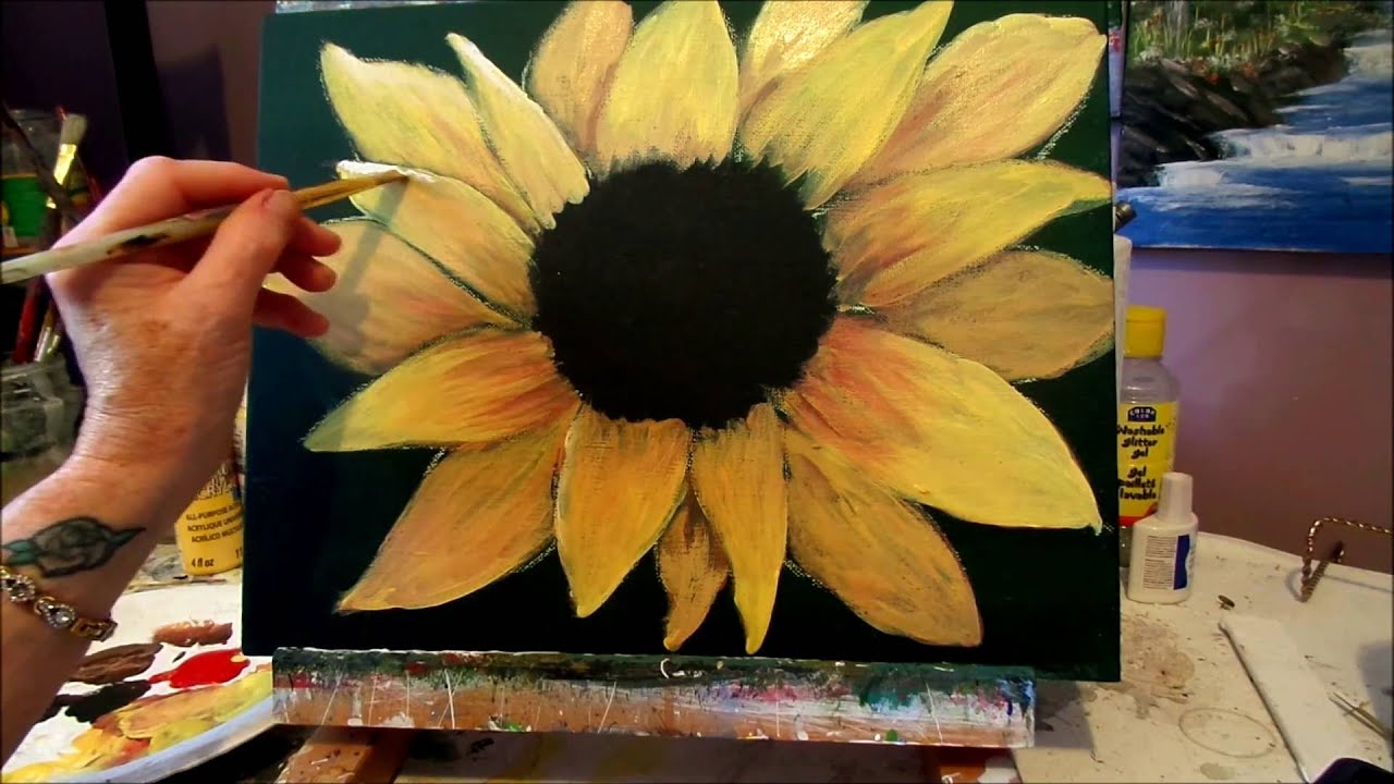 How to paint a Sunflower with acrylic paint lesson 3 step