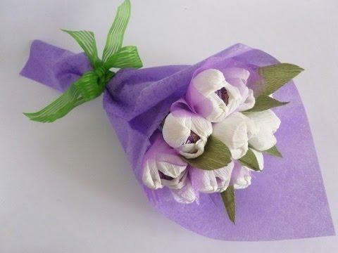 МК - цветочный букет с конфетами //// Master Class - floral bouquet with candy