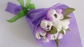 МК - цветочный букет с конфетами //// Master Class - floral bouquet with candy(цветы из бумаги для детей, вырезание цветов из бумаги, цветок из бумаги своими руками поэтапно, цветы из..., 2015-12-14T09:41:30.000Z)