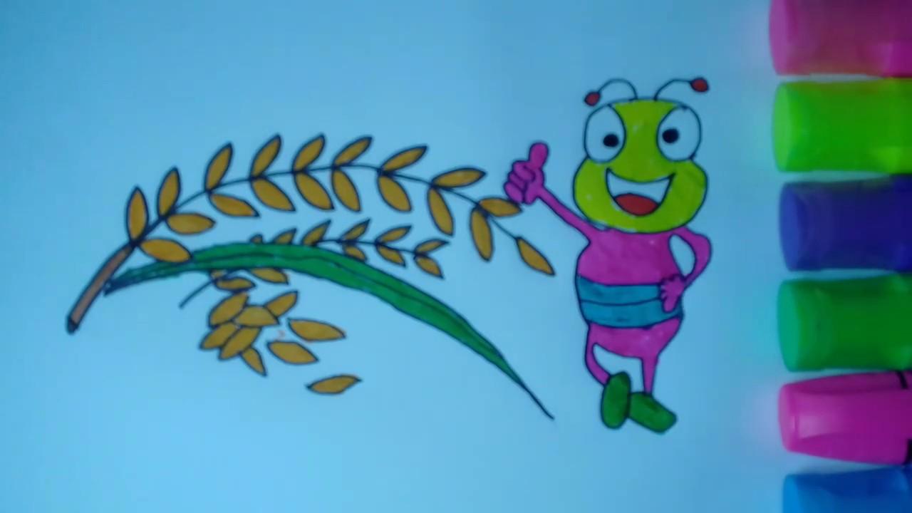 Menggambar Buah Padi Untuk Pemula I Gambar Padi I Drawing Rice Fruit Youtube