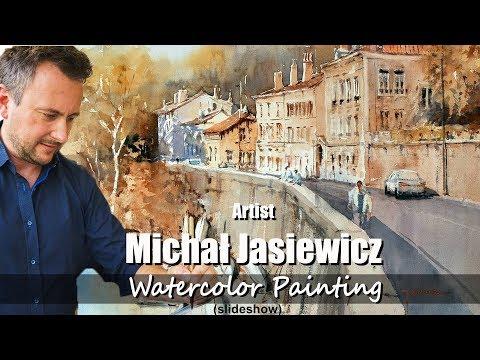 Watercolor Landscape Painting - Artist Michał Jasiewicz - Poland -(slideshow 01) Akwarela