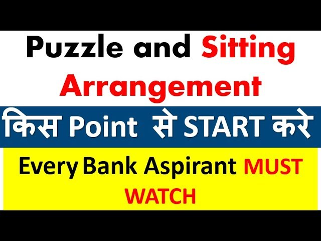 Puzzle and Sitting Arrangement को किस point  से Start करे (How to Start Puzzle with APPROACH)