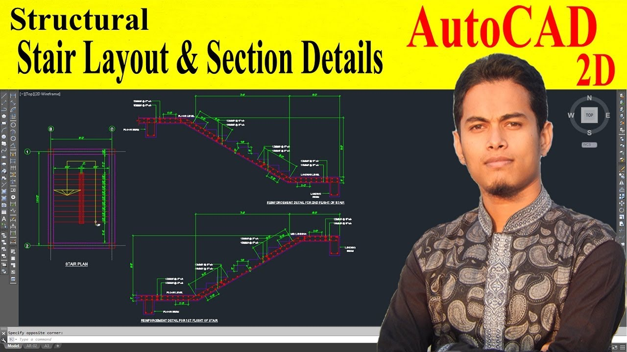 How to draw stair detail in autocad