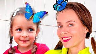 История о том, как Майя играла вместе с семьей и поймала бабочку